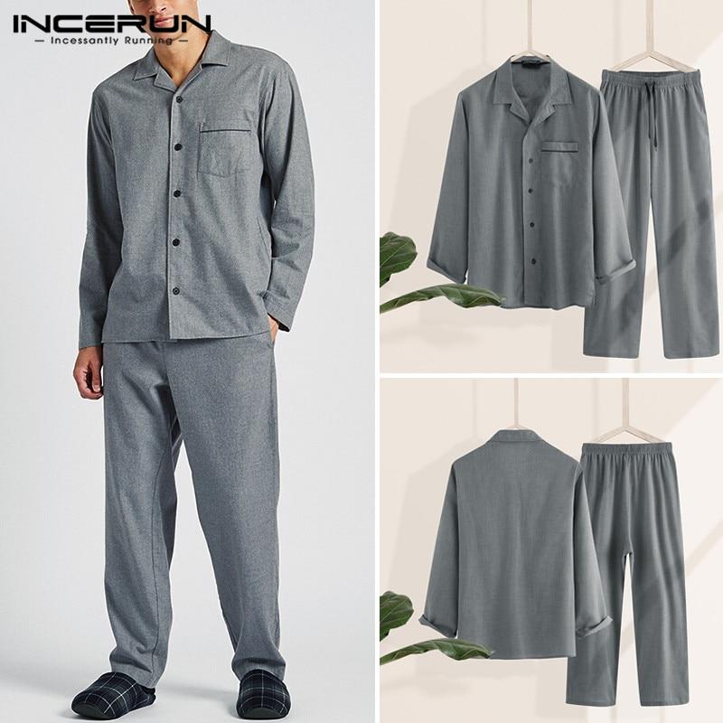 INCERUN Fashion Men Pajamas Sets Men Casual Homewear Lapel Long Sleeve  Shirt Long Pants Sets Solid Color Sleepwear S-5XL