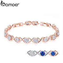BAMOER 4 Colors Clear CZ Gold Color Bracelets for Women Elegant Tennis Chain Link Women Bracelet Fine Silver Jewelry YIB043(China)