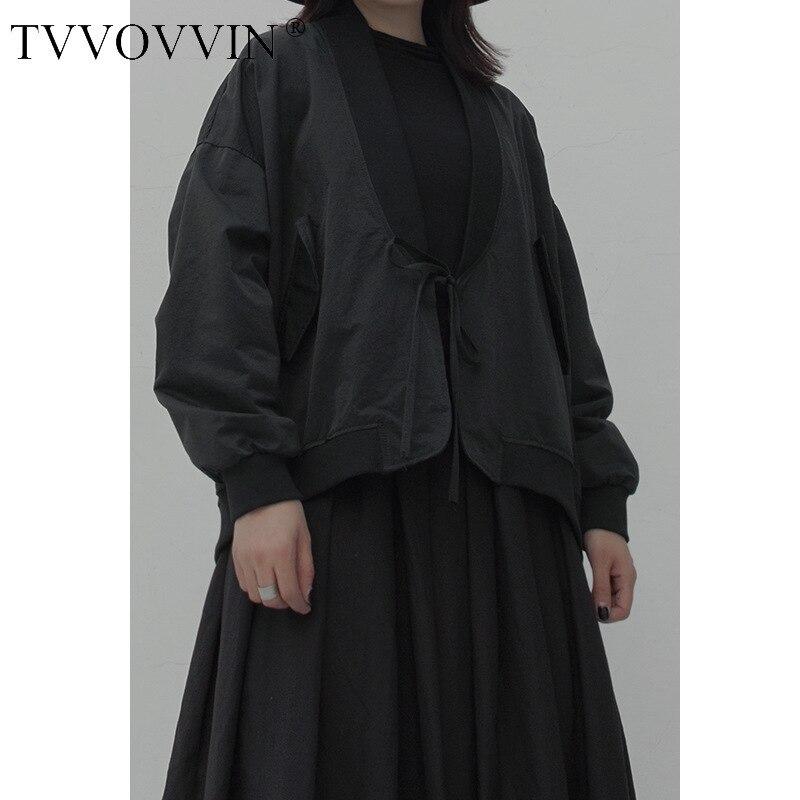 TVVOVVIN осеннее женское нежное стильное маленькое Свободное пальто в готическом стиле однотонная Черная куртка с длинным рукавом свободного