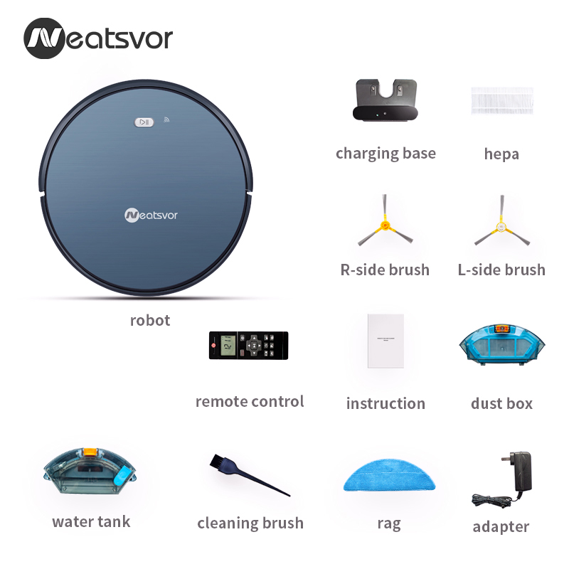 Auto Chargeable NEATSVOR X500 1800PA Robot Vacuum Cleaner with Powerful Suction for dry and wet mopping of home