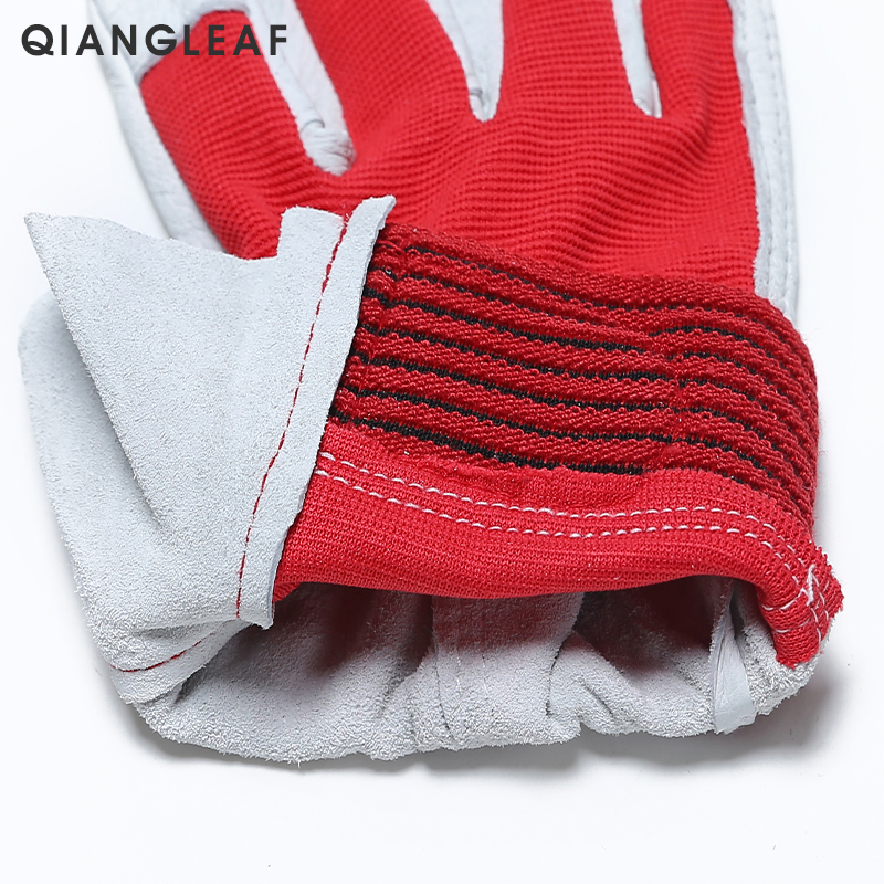 Image 4 - QIANGLEAF Brand Red Products Mechanic Work Gloves Leather Welding Coat Heavy Industrial Glove Safety Sport Glove 5163-in Safety Gloves from Security & Protection
