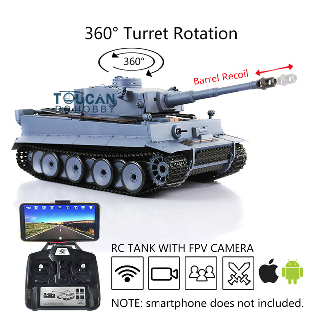 Henglong 1/16 6.0 Plastic Tiger I RC Tank 3818 360 Turret Barrel Recoil FPV TH16095