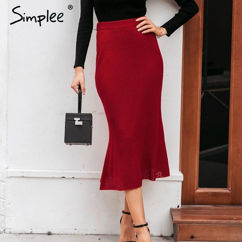 Simplee Elegant Autumn Winter Women Knitted Skirt High Waist Solid Female Midi Skirt Casual Streetwear Ladies Sweater Skirt 2019