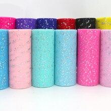 10 หลา 15 ซมGlitterเลื่อมTulle Roll Tutuผ้างานแต่งงานตกแต่งOrganzaเลเซอร์งานฝีมือสีขาวTulleวันเกิดParty Supplies