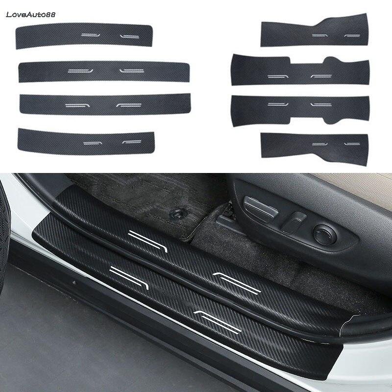 Tira decorativa de umbral de puerta Interior y Exterior de fibra de carbono, Pedal de bienvenida para Toyota RAV4, RAV-4, 2019, 2020