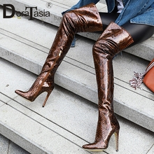 DORATASIA New Plus Size 33-46 Brand Ladies Thin High Heels Pointed Toe Shoes Woman Party Sexy Over The Knee Thigh Boots