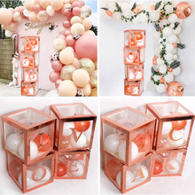pafu Rose Gold Transparent Balloon Box Baby Shower Decoration First Birthday Party Decor Kids Babyshower Boy Girl Name Box(China)