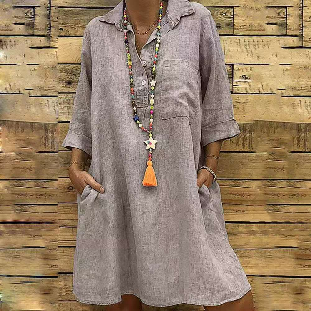 5XL Fashion Women's Clothing Plus Size Summer Autumn Turn Down Collar Pocket Dress Sexy Loose Button Large Size Shirt Dress