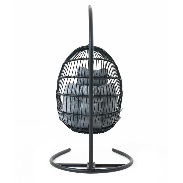 Hanging Egg Swing Chair Wicker Basket Seat with Cushion Steel Support Stand Frame for Home Patio Deck Garden Yard Backyard[US-W] 3