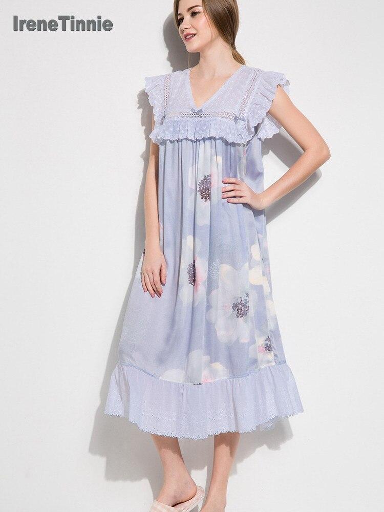 Summer Sweet Lace V-neck Princess Nightgowns For Women Sleeveless Tencel Print Sleepwear Night Dress Girls Home Dress Nightdress