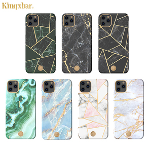Image 1 - Original Kingxbar Back Case For iPhone 11 Pro Max Fashion Jade Stone Marble Hard Protective Cover Case With Built in Metal Plate