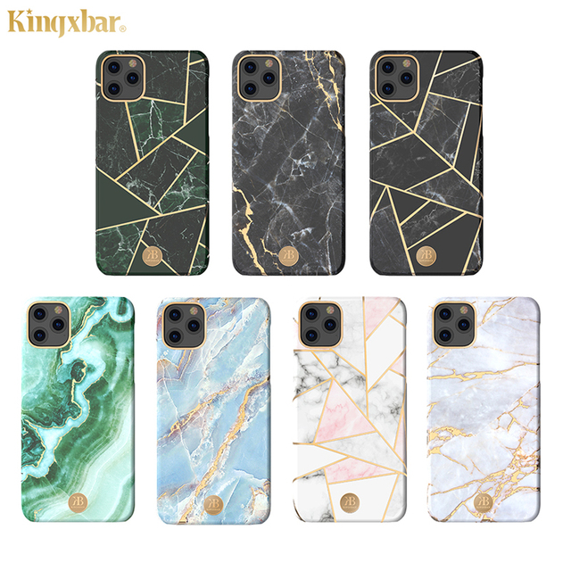 Original Kingxbar Back Case For iPhone 11 Pro Max Fashion Jade Stone Marble Hard Protective Cover Case With Built in Metal Plate