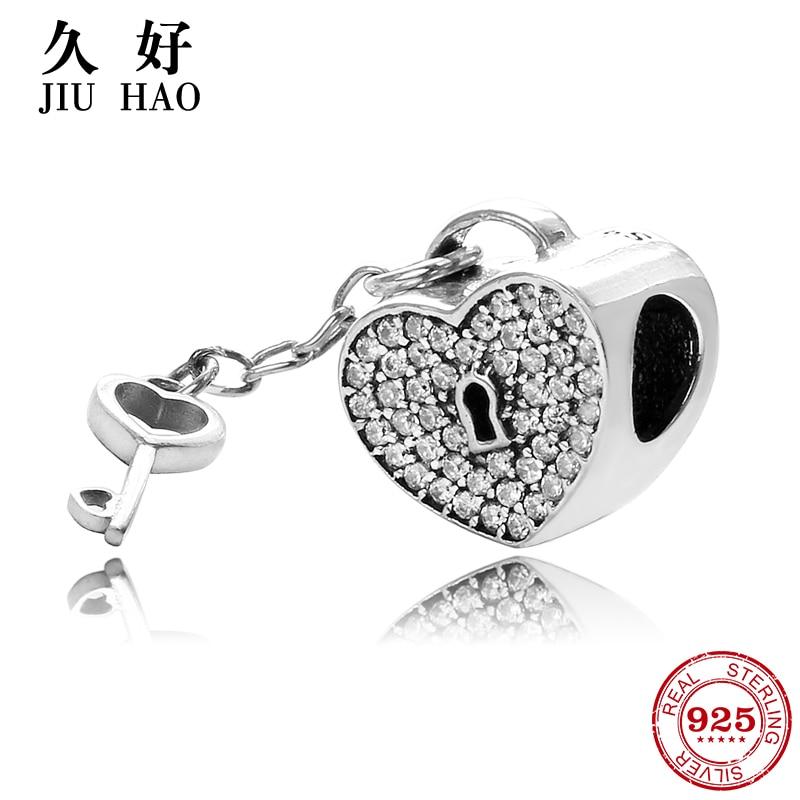 Romantic 925 Sterling Silver Love Lock Heart Key Beads Fit Original Pandora Charms Bracelet women accessories Jewelry(China)