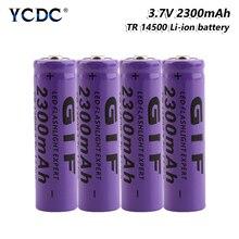 1/2/4/6/8Pcs 14500 배터리 3.7 V 2300mah 리튬 이온 충전식 배터리 LED 손전등 토치 14500 배터리