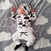 Conjunto de ropa de niño y niña recién nacida, camiseta de dibujo de nube, Tops + Pantalones, trajes, elegante y animado