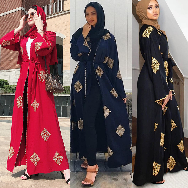 X-Future Women Middle East Stripe Muslim Sequins Open Front Cardigan Robe Dress