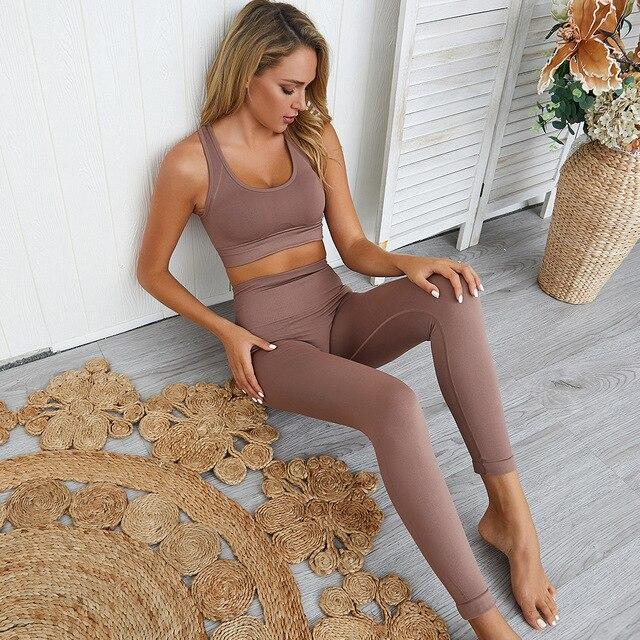 Dikişsiz hyperflex egzersiz seti spor tayt ve üst set yoga kıyafetleri kadın spor atletik giyim spor setleri 2 parça