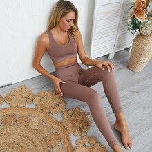 Hiperflex sem costura conjunto de treino esporte leggings e conjunto superior yoga roupas para as mulheres roupas esportivas conjuntos ginásio 2 peça