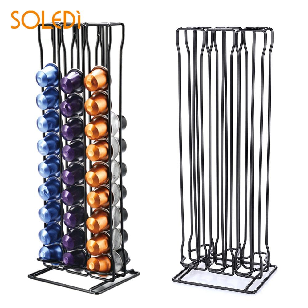 SOLEDI 60 Capsules Unrotatable Coffee Capsules Rack Dining & Bar Home Decor Kitchen Storage Capsules Coffee Pods Holder Stand