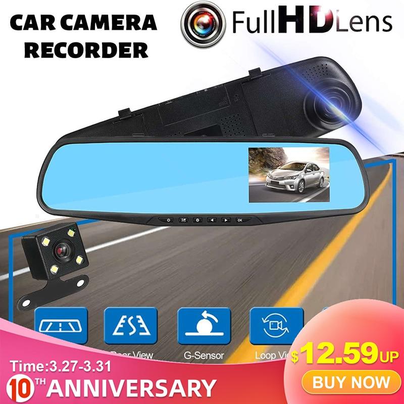Full HD 1080P Car DVR Camera 4.3 inch Automobile Data Recorder Rearview Mirror Dash Digital Video Recorder Dual Lens Camcorder|DVR/Dash Camera| |  - title=
