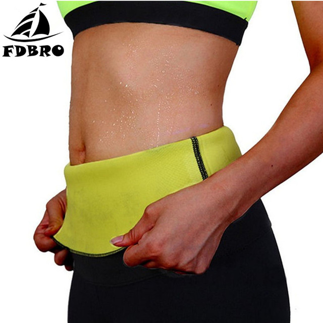 FDBRO Fitness Sport Sweat Band Waist Band Gym Fitness Sports Exercise Waist Support Pressure Slimming Body Building Belt Trainer