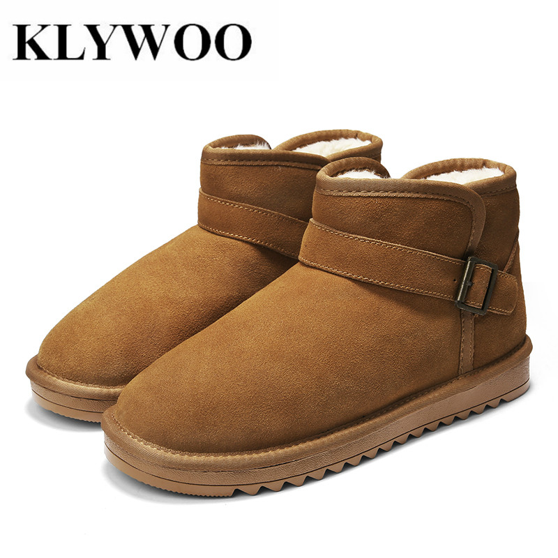 Winter Mens Snow Boots Plush Fur Warm Couple Man Casual Shoes Warm Fashion Young Snow Ankle Boots For Men Comfort Shoes KLYWOO