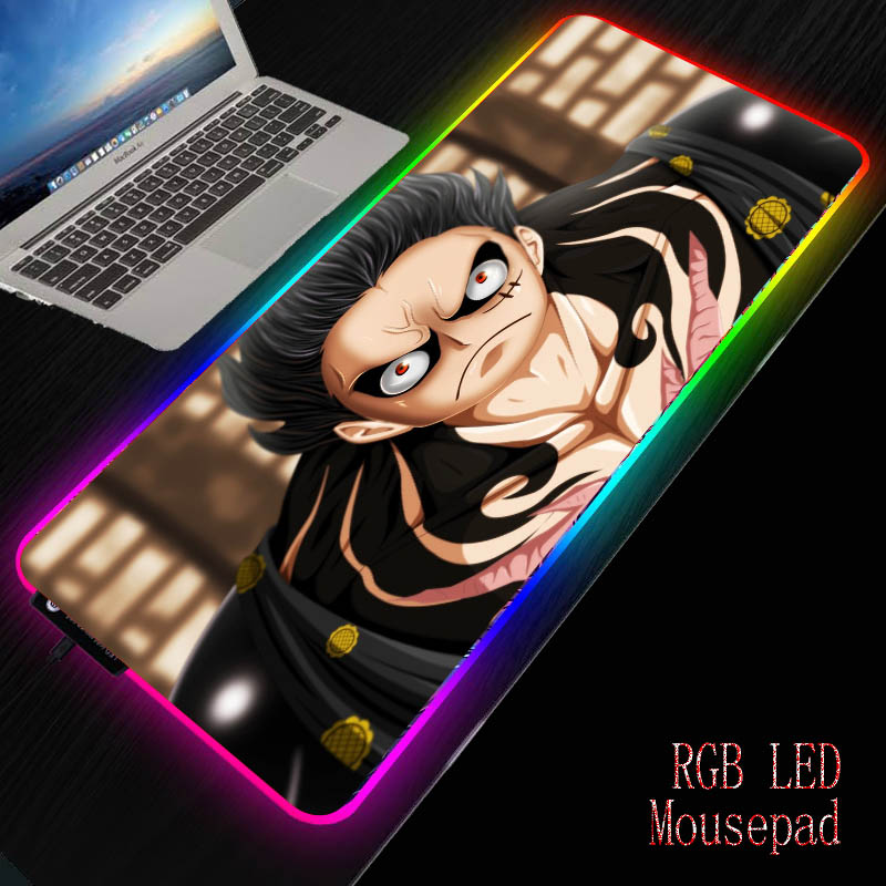 Mairuige Anime <font><b>One</b></font> <font><b>Piece</b></font> Gaming RGB Large <font><b>Mouse</b></font> <font><b>Pad</b></font> Gamer Computer Mousepad Led Backlight XL Surface Mause Keyboard Desk Mat image