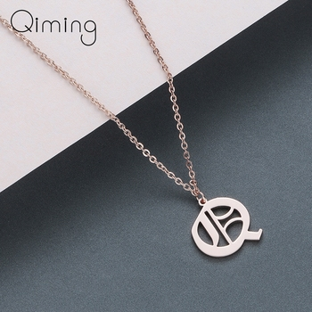 QIMING Women Pendants Letter Necklace A B C D E F G H I J K L M N O P Q R S T U V W X Y Z Stainless Steel Jewelry Necklaces image