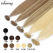 Hair-Extensions Human-Hair Micro-Beads Isheeny In-Nano Straight 14-9-Colors Ring-Links