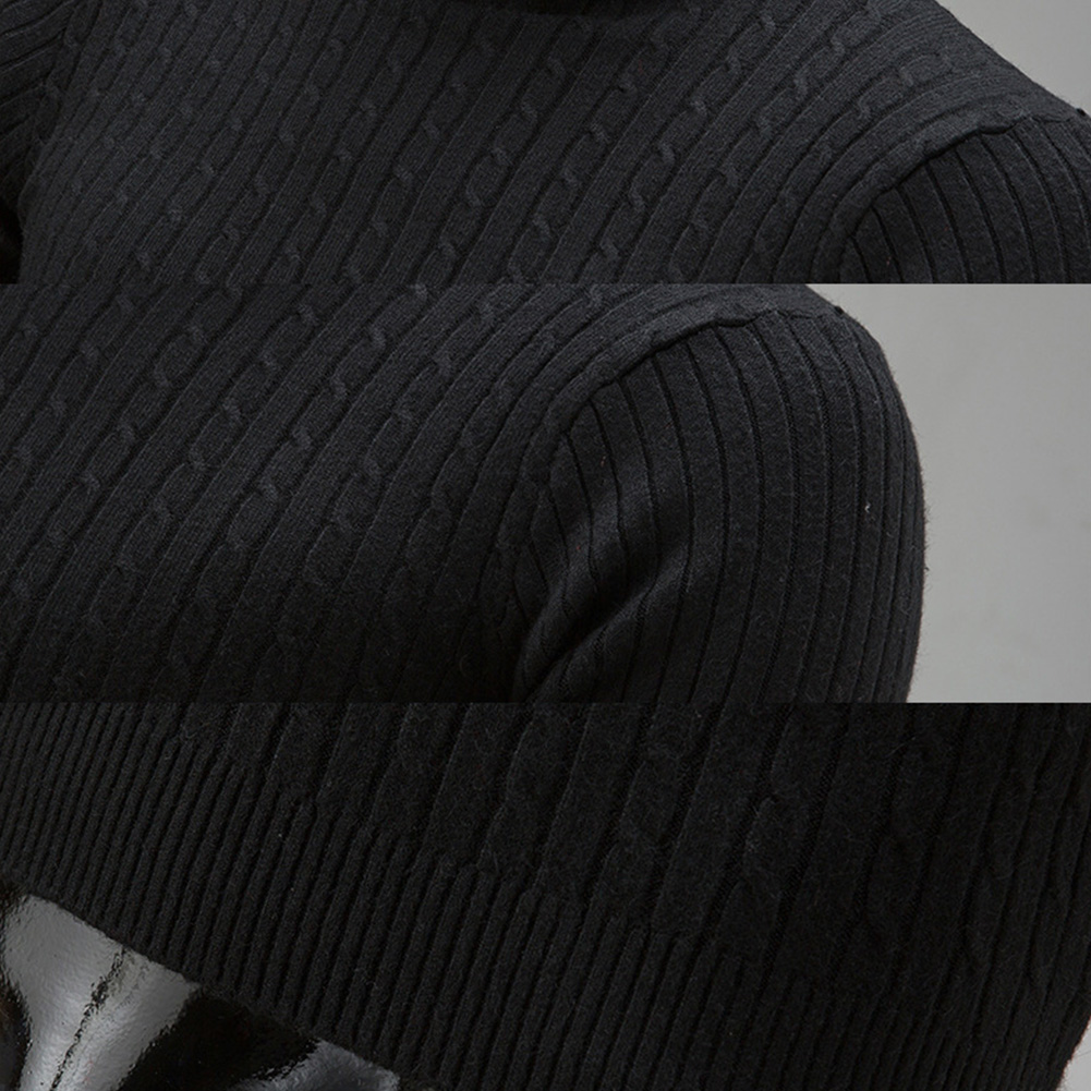Fashion Winter Chic Men Solid Color Turtleneck Long Sleeve Knitted Sweater Bottoming Top Acrylic Sweater Standard Wool  M-3XL 5