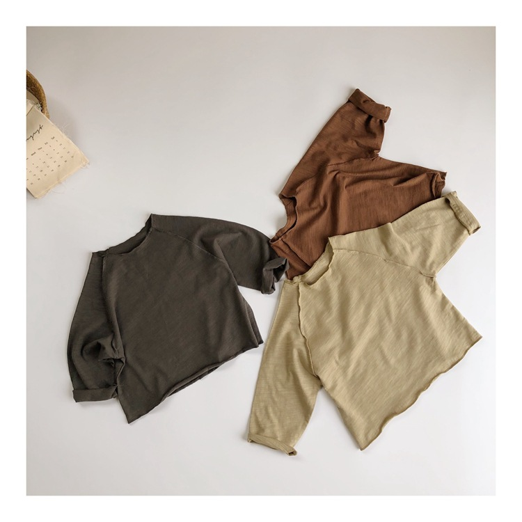 CHILDREN'S Long-sleeved T-shirt 2020 Spring  Korean Child Baby Slub Cotton Solid Color Base Shirt MORI
