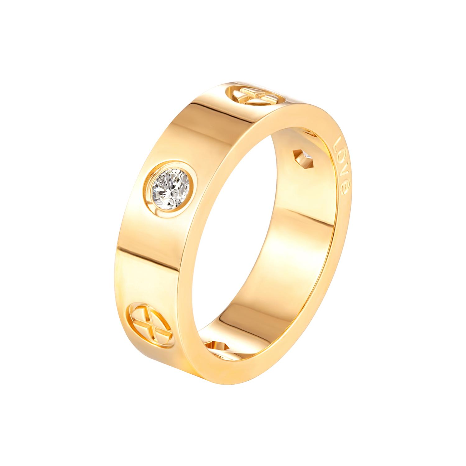 Trendy Cross CZ Crystal Rings Stainless Steel Gold Color Love Ring for Women Men Couple Wedding  Luxury Brand Jewelry