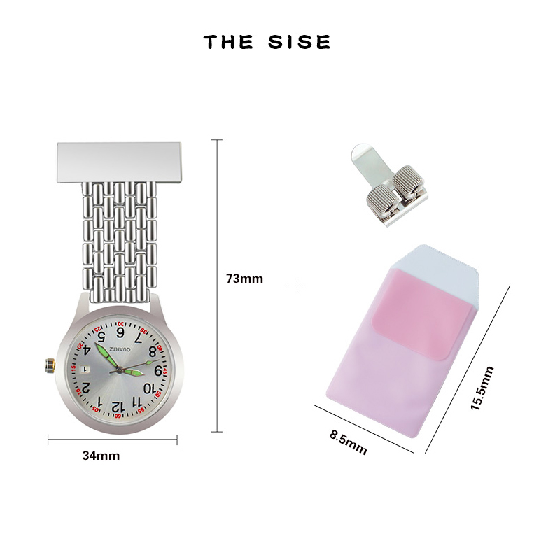 Nurse watch quartz Fob Pocket doctor-who gift for medical student Lapel nursing Clock Stainless Pen Clips Pocket protector