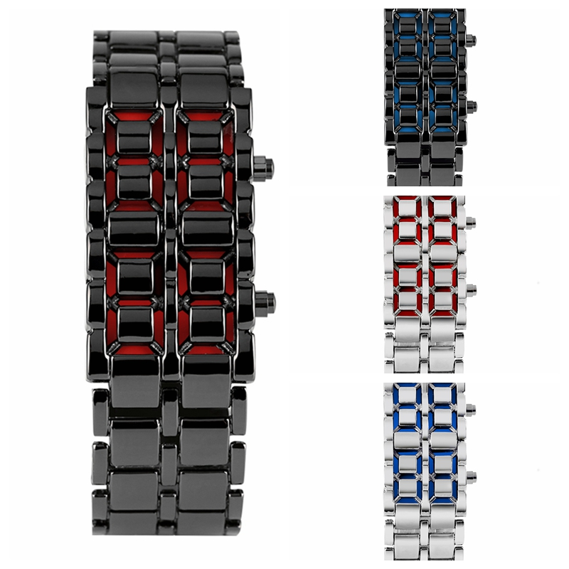 Mens Watch Full Metal Digital Lava Wrist Watch Iron Metal Red LED Blue LED Samurai For Men Boy Sports Dress Watches Reloj Hombre