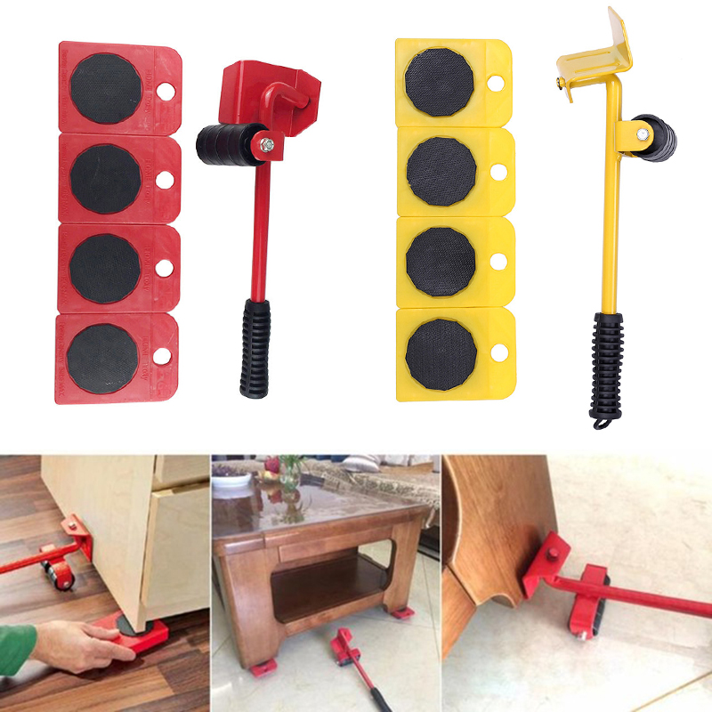 5pcs/set Furniture Lifter Sliders Kit Heavy Furniture Roller Move Tool Set Wheel Bar Mover Device Lifting Derrick Lifting Cranes