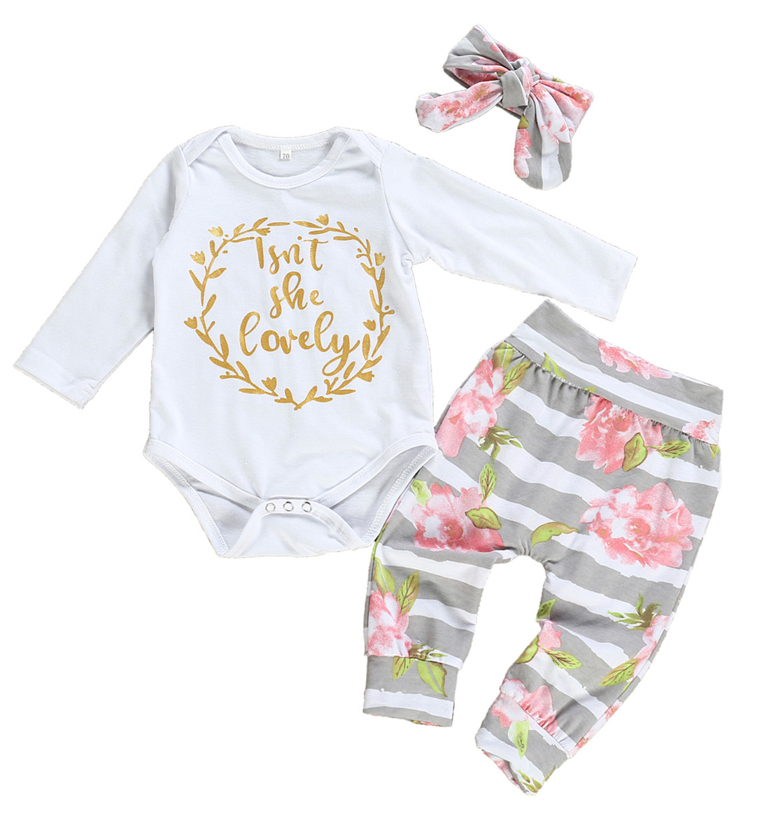 Lucoo Newborn Baby Girl Boy Jumpsuit Baby Girl Romper Baby Girl Letter Printed Tops Bodysuit Clothes