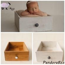 Retro Drawer Newborn Photography Wooden Prop Infant Baby Boy Girl Photo Shoots Studio Posing Wood Bed Props foto Shooting Basket