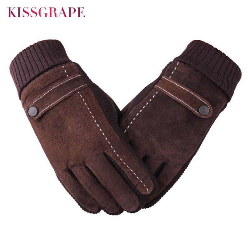 Brand 2019 Autumn Winter Men's Warm Genuine Leather Gloves Male Brown Pig Leather Gloves Guantes Men Warm Riding Motorcycle Luva