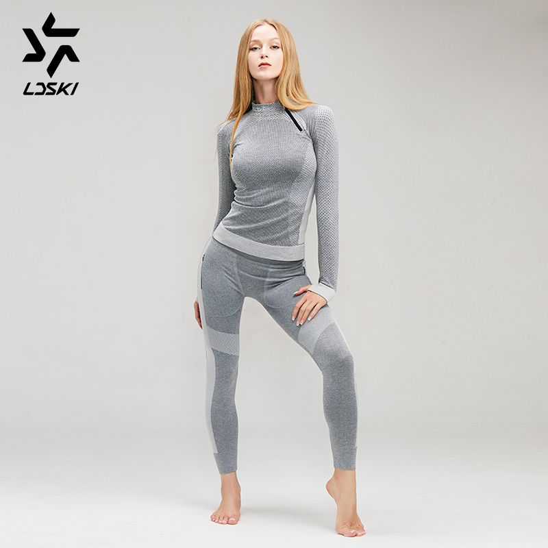 LDSKI Compression Athletic-fit Activewear Ski Underwear Moisture-wicking Fabric Skin-contact Friendly
