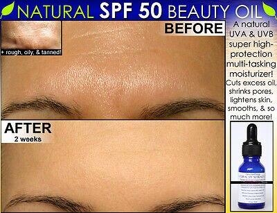 Huile de beauté hydratante naturelle pour le visage SPF 50 pour éclaircir la peau, peaux grasses et plus