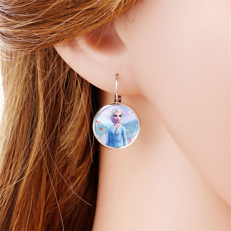 Disney Frozen 2 Earrings Children's Cartoon Elsa Princess Anna Time Gem Girl Ear Clip Earrings Jewelry Doll Accessories