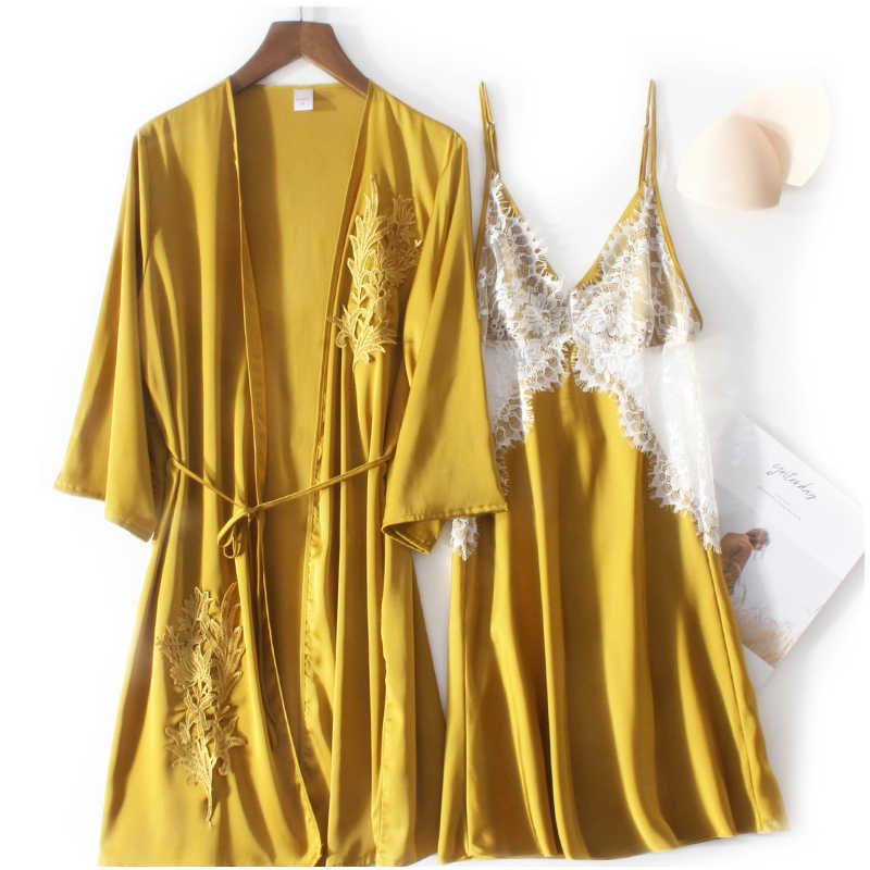 ローブ & ガウンセットセクシーなパジャマレーヨン女性のナイトガウン szata zestawy ナイトドレス traje conjuntos 夜の摩耗シルク YP018