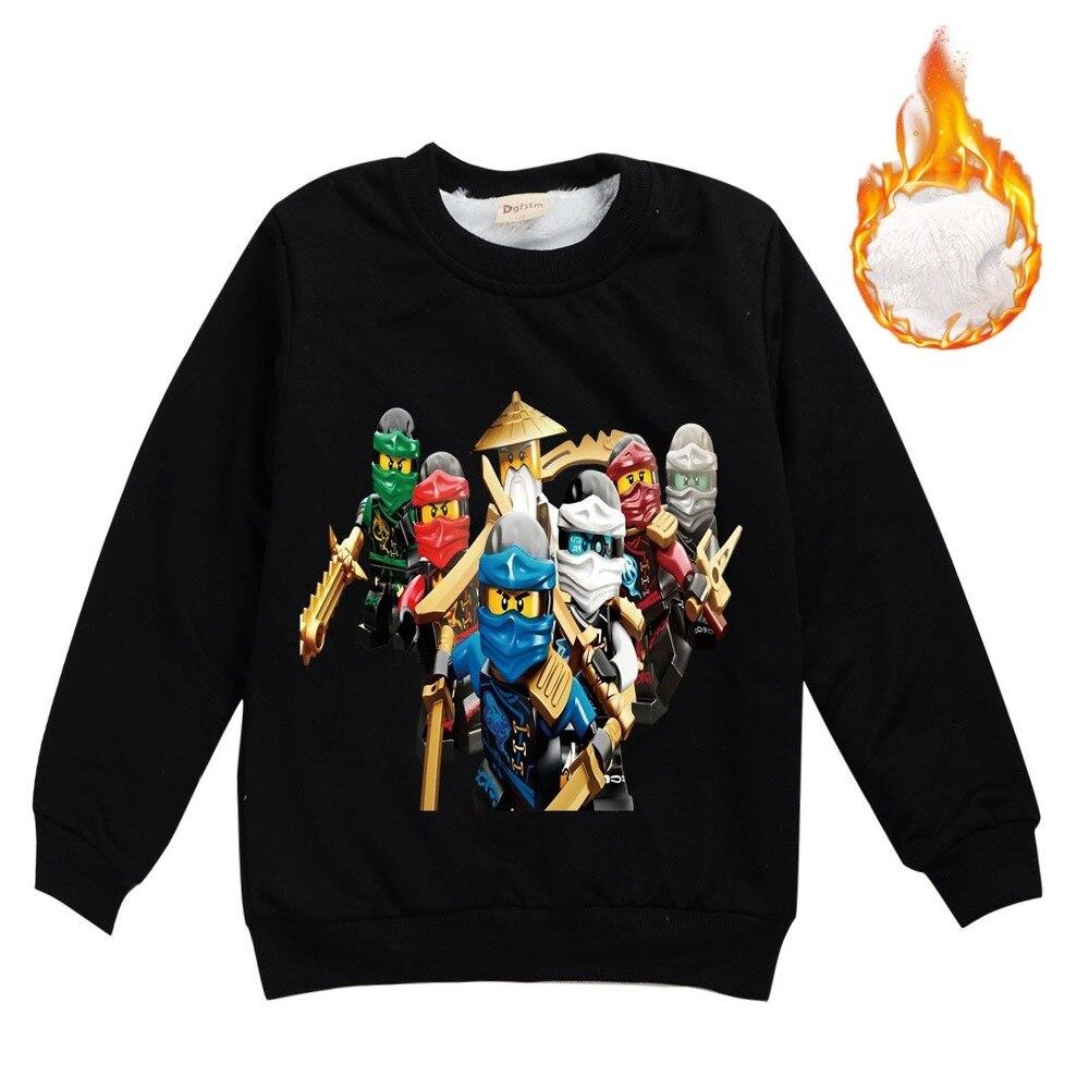 Ninja Boys Double thickening Winter warm sweater Ninjago Long sleeve For Girls Ninjago Boys Clothes Children Clothing Top Tees