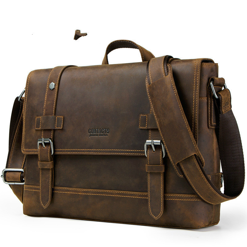 2020 New Genuine Leather Bags Mens Laptop Messenger Man Business Briefcase Crazy Horse Oblique Satchel Men's Bag For Documents