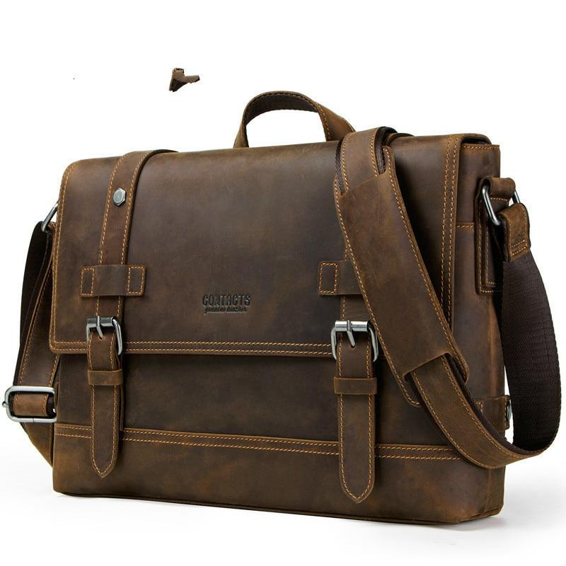2020 New Genuine Leather Bags Mens Laptop Messenger Man Business Briefcase Crazy Horse Oblique Satchel Men's Bag For Documents