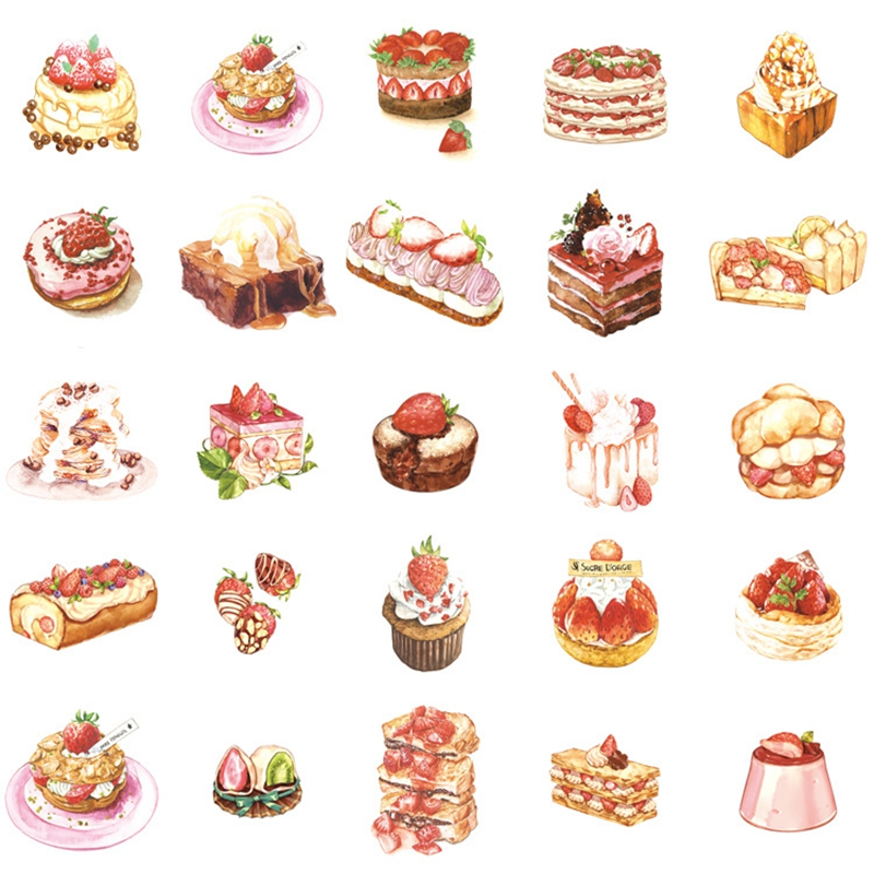 Delicious Dessert Stickers 50pcs/box Cute Foods Drink Paper Stickers Self-Adhesion DIY Toy Stickers For Kids Diary Scrapbooking