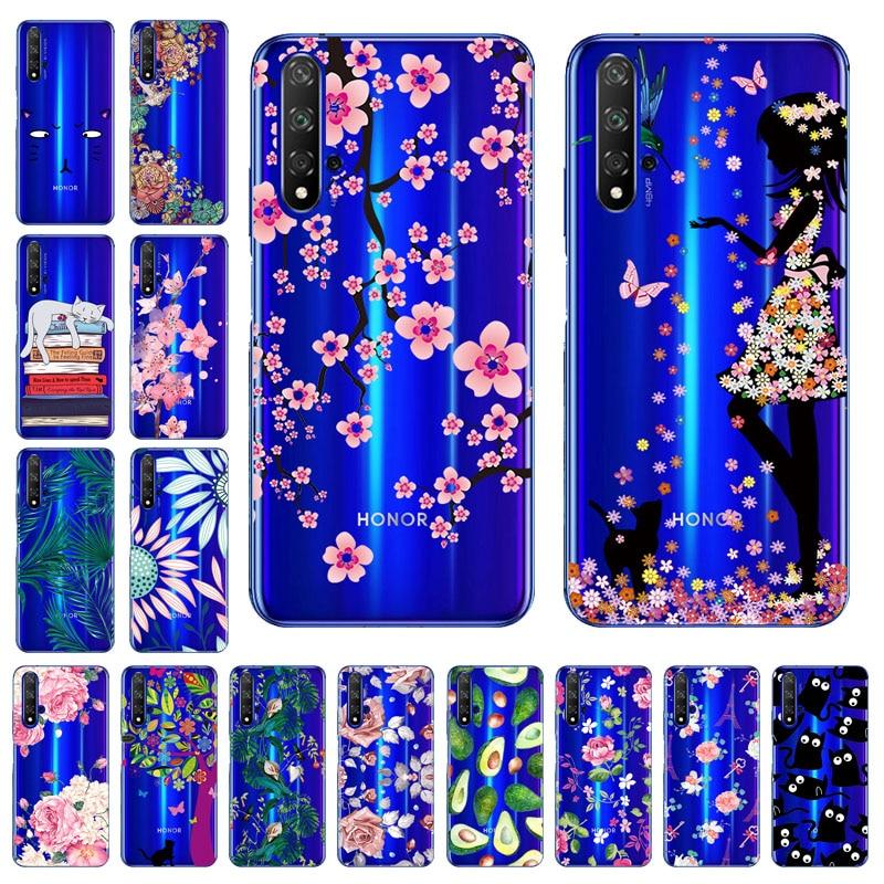 3D bricolage peint étui pour Huawei Honor 20 étui silicone Transparent pare-chocs Honor 9C 8X 9x Pro 20s 8C 8S 8A Y7p couvertures