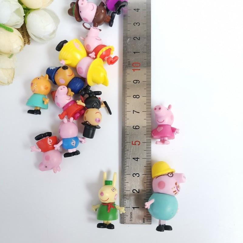 3cm Original Peppa Pig Family Friends Birthday Cake Cartoon Decoration Action Figure Toys PVC Anime Peppa Cake Gift Toy For Kid