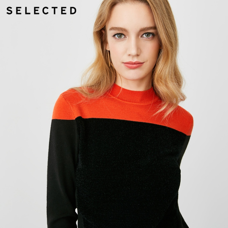 SELECTED New women's wool fashion contrast color stitching sweater S |418413507