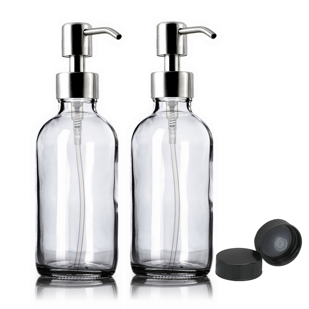 2pcs 250ml Clear Glass Pump Bottle Empty Stainless Steel Lotion Pump Dispenser Containers For Liquid Soap Shampoo Shower Gel 8Oz